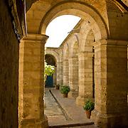"Graceful archways of Monestario Santa Catalina in the ""White City"" of Arequipa, Peru."