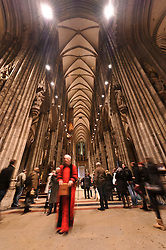 Cologne, Germany, Jan. 2012 -  The Cologne Dom Cathedral. Officially, Hohe Domkirche St. Peter und Maria (or The High Cathedral of Saints Peter and Mary), is a Roman Catholic church in Cologne, Germany. It is the seat of the Archbishop of Cologne and the administration of the Archdiocese of Cologne. It is renowned monument of German Catholicism and Gothic architecture and is a World Heritage Site. It is Germany's most visited landmark, attracting an average of 20,000 people a day. The Cologne Cathedral was built between 1248 and 1880. It is 144.5 meters (474 ft) long, 86.5 m (284 ft) wide and its towers are approximately 157 m (515 ft) tall. The cathedral is the largest Gothic church in Northern Europe and has the second-tallest spire and largest facade of any church in the world. The choir has the largest height to width ratio of any medieval church. (Photo © Jock Fistick)