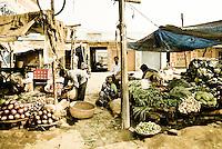 Roadside market stalls outside Varanasi, Uttar Pradesh, India