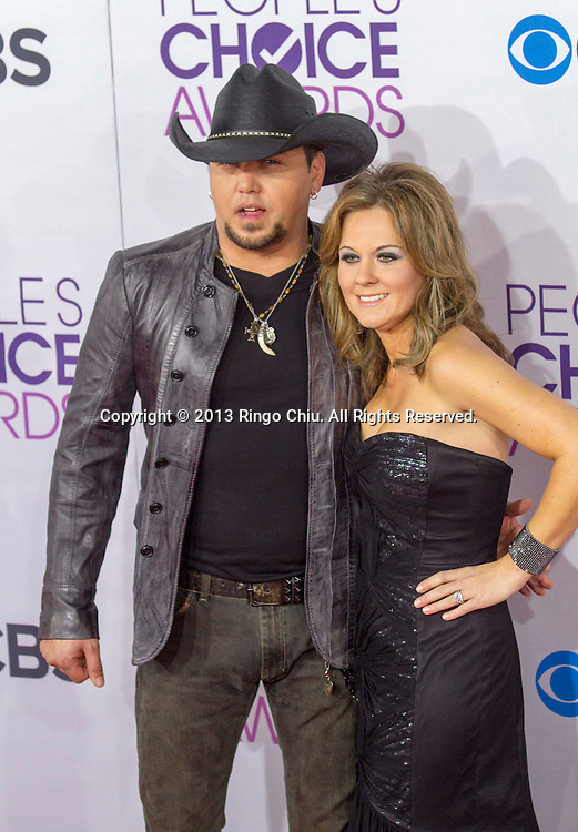 Jason Aldean and Jessica Aldean arrive at the 39th Annual People's Choice Awards at Nokia Theatre L.A. Live on Wednesday January 9, 2013 in Los Angeles, California, United States. (Photo by Ringo Chiu/PHOTOFORMULA.com)