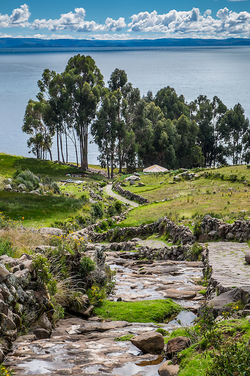 View of pathway Taquile in Lake Titicaca, Peru.