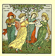 Here we go round the mulberry bush From the Book '  The baby's opera : a book of old rhymes, with new dresses by Walter Crane, and Edmund Evans Publishes in London and New York by F. Warne and co. in 1900