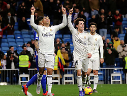 MADRID, Feb. 4, 2019  Real Madrid's players celebrate their victory after a Spanish La Liga match between Real Madrid and Alaves in Madrid, Spain, on Feb. 3, 2019. Real Madrid won 3-0. (Credit Image: © Edward F. Peters/Xinhua via ZUMA Wire)