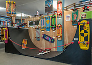 The Daniel Perkins Collection of specialty vintage skateboards and half pipe at the Morro Bay Skateboard Museum, California (former location).