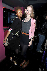 Left to right, TOLULA ADEYEMI and MORWENNA LYTTON-COBBOLD at the launch party of the Nokia 5800 phone held at PUNK 14 Soho Street, London W1 on 27th January 2009.