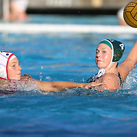 (Photograph by Bill Gerth for SVCN) Homestead #4 Erin Slaney looks to score as Saratoga #15 Madeline Stuart defends in a SCVAL Girls Water Polo match at Homestead High School, Sunnyvale CA on 10/20/16.  (Homestead 3 Saratoga 2)