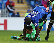 Sol Bamba of Cardiff city falls over Cardiff city goalkeeper Neil Etheridge .EFL Skybet championship match, Cardiff city v Sheffield Wednesday at the Cardiff City Stadium in Cardiff, South Wales on Saturday 16th September 2017.<br /> pic by Andrew Orchard, Andrew Orchard sports photography.