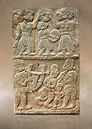 Pictures & images of the North Gate Hittite sculpture stele depicting musicians playing instruments. 8the century BC.  Karatepe Aslantas Open-Air Museum (Karatepe-Aslantaş Açık Hava Müzesi), Osmaniye Province, Turkey. Against art background