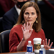 President Donald Trump's Supreme Court nominee Judge Amy Coney Barrett testifies during the second day of her Senate Judiciary confirmation hearing on Tuesday, October 13, 2020.