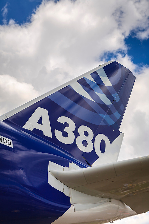 Vertical stabilizer, rudder and horizontal stabilizer of the Airbus A380.