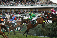 National Hunt Horse Racing - 2019 Randox Health Grand National Festival - Friday, Day Two (Ladies Day)<br /> <br /> D R Fox on Forest Des Aigles juntes the water jump<br /> in the 16:05 Randox Health Topham Handicap Chase (Grade 3) (National Course)) at Aintree Racecourse.<br /> <br /> COLORSPORT/WINSTON BYNORTH