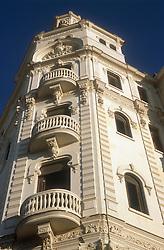 Building in Havana; Cuba featuring stone balconies,