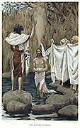 Baptism of Jesus by John the Baptist. Bible, New Testament. From J.J. Tissot 'The Life of our Saviour Jesus Christ' c1890. Oleograph.