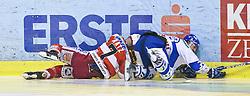 03.03.2011, Stadthalle, Klagenfurt, AUT, EBEL, EC KAC vs KHL MEDVESCAK ZAGREB, im Bild Frank Banham (Khl Medvescak  Zagreb, #38), Herbert Ratz (Kac, #4), EXPA Pictures © 2011, PhotoCredit: EXPA/ G. Steinthaler