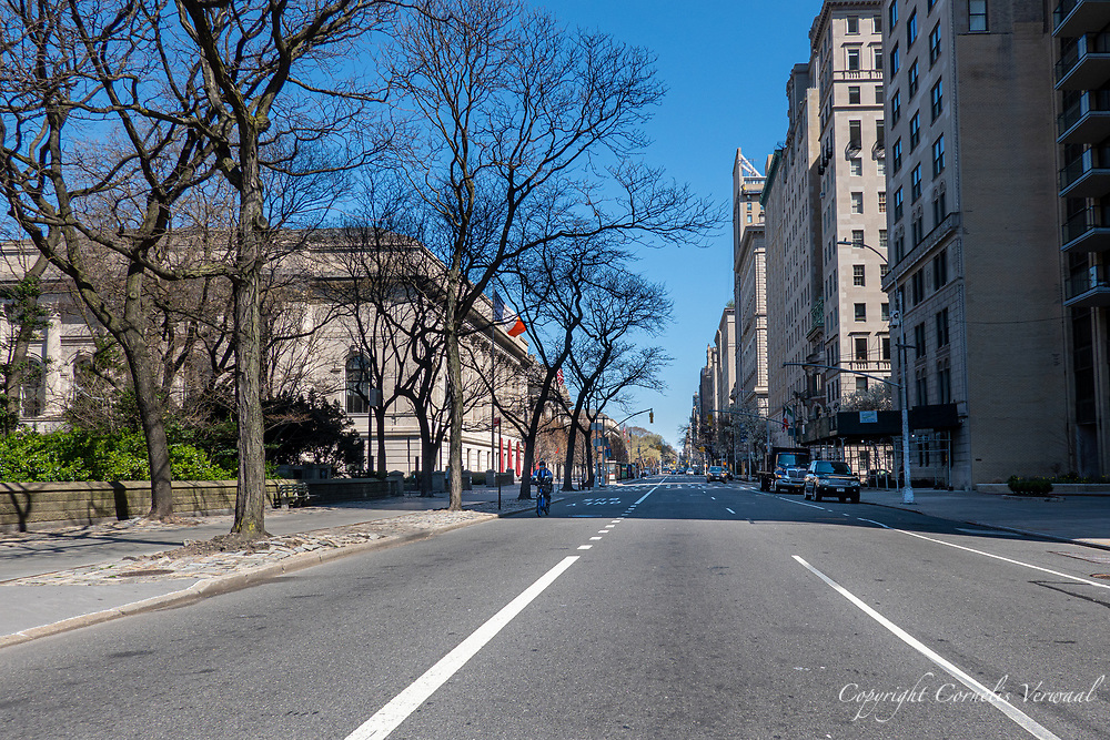Virtually abandoned Fifth Avenue at the Metropolitan Museum of Art at noon March 26, 2020.