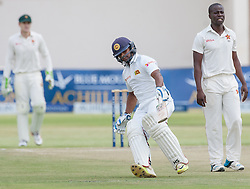 Sri Lanka batsman Asela Gunaratne  in action during the second day of the 100th test match for Zimbabwe played in a match with Sri Lanka at Harare Sports Club 30 October 2016.