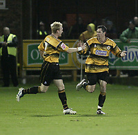 Photo: Barry Bland.<br />Boston United v Swindon Town. The FA Cup. 16/11/2005.<br />Brad Maylett celebrates after scoring