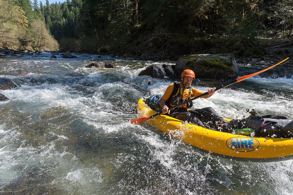 Paddling the Middle Fork of the Santiam River, Oregon.