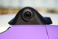 © London News Pictures. 11/10/2016. Milton Keynes, UK. Detail showing a small camera on the side of the car. A driverless car being tested around pedestrian areas in Milton Keynes in the first public test of autonomous electric vehicles in the UK. The vehicles have been developed by the Oxford Robotics Institute and Oxbotica. Photo credit: Ben Cawthra/LNP