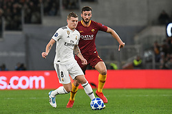 November 27, 2018 - Rome, Italy - Toni Kroos of Real Madrid compete for the ball with Bryan Cristante of AS Roma  during the Champions league football match between AS Roma  and Real Madrid at Olimpico stadium in Rome, Italy, on November 27, 2018. (Credit Image: © Federica Roselli/NurPhoto via ZUMA Press)