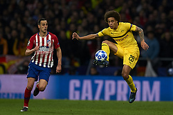 November 6, 2018 - Madrid, Spain - Nikola Kalinic of Atletico Madrid and Axel Witsel of Borussia Dortmund during the Group A match of the UEFA Champions League between AtleticoLucien Favre of Borussia Dortmund Madrid and Borussia Dortmund at Wanda Metropolitano Stadium, Madrid on November 07 of 2018. (Credit Image: © Jose Breton/NurPhoto via ZUMA Press)