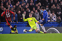 Football - 2017 / 2018 Carabao (EFL/League) Cup - Quarter-Final: Chelsea vs. AFC Bournemouth<br /> <br /> Alvaro Morata of Chelsea scoring the winner in injury time,past goalkeeper Artur Boruc at Stamford Bridge.<br /> <br /> COLORSPORT/ANDREW COWIE