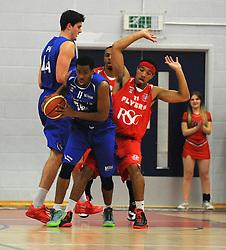 Bristol Flyers' Greg Streete defends Durham Wildcats' Christopher Jones - Photo mandatory by-line: Dougie Allward/JMP - Mobile: 07966 386802 - 18/10/2014 - SPORT - Basketball - Bristol - SGS Wise Campus - Bristol Flyers v Durham Wildcats - British Basketball League