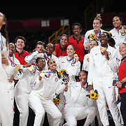 TOKYO, JAPAN August 8:  Brittney Griner #15 of the United States takes a selfie with the rest of the gold medal winning United Staes team after the Japan V USA basket final for women at the Saitama Super Arena during the Tokyo 2020 Summer Olympic Games on August 8, 2021 in Tokyo, Japan. (Photo by Tim Clayton/Corbis via Getty Images)