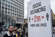 Social distancing signs are still in place outside Oxford Circus station on Oxford Street as the national coronavirus lockdown three eases towards the planned Freedom Day on 3rd July 2021 in London, United Kingdom. Now that the roadmap for coming out of the national lockdown and easing of restrictions is set, dome medical professionals are suggesting thatsome safety measures are kept in place because of the increase in the Delta variant.