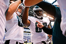 Philadelphia Eagles teammates come together before the NFL game between the Philadelphia Eagles and the Indianapolis Colts on August 20th 2009. The Colts won 23 to 15 at Lucas Oil Stadium in Indianapolis, IN.  (Photo By Brian Garfinkel)
