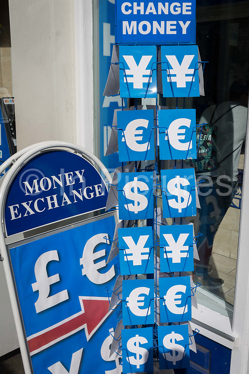 Foreign currencies such as Yen, Euros and Dollars outside a Money Exchange Bureau de Change in central London, on 25th March 2019, in London, England.
