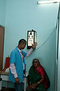 Bihar India March 2011. Akhand Jyoti Eye hospital, Mastichak. Vision testing.