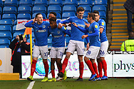 Goal - Jamal Lowe (10) of Portsmouth celebrates scoring a goal to give a 1-0 lead to the home team during the EFL Sky Bet League 1 match between Portsmouth and AFC Wimbledon at Fratton Park, Portsmouth, England on 1 January 2019.