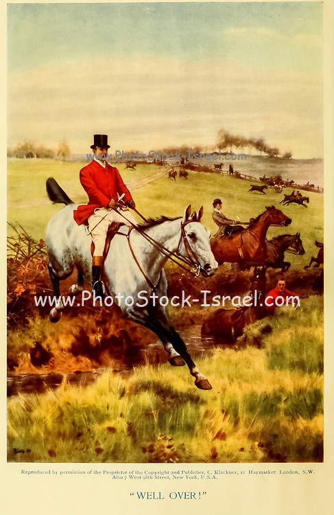 Well Over horse jumps over a hedge From the book ' English sport ' by Alfred Edward Thomas Watson, Published in London by Macmillan and Co. Limited and in New York by Macmillan Company. in 1903