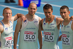 Matic Osovnikar, Jan Zumer, Bostjan Fridrih and Gregor Kokalovic of team Slovenia after  the 4x100m Mens Relay Heats during day five of the 20th European Athletics Championships at the Olympic Stadium on July 31, 2010 in Barcelona, Spain.  (Photo by Vid Ponikvar / Sportida)