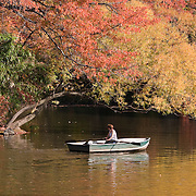 Rowing on The Lake in Central Park, New York City during peak fall foliage
