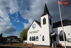 Cardiff, UK. 1st May, 2017. The Norwegian Church Arts Centre on Cardiff Bay. The Norwegian Church was built in 1868 and served as a Lutheran place of worship for Scandinavian sailors and the local Norwegian community until deconsecrated in 1974.