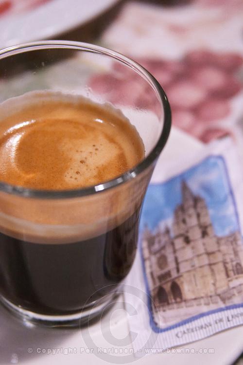 glass of coffee , restaurant Imprenta Casado , Leon spain castile and leon