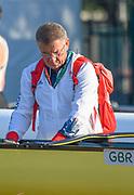 "Rio de Janeiro. BRAZIL.   2016 Olympic Rowing Regatta. Lagoa Stadium, GBR Men's Head Coach, Jurgan GROBLER, tinkering with the Men's Eight, <br /> Copacabana,  ""Olympic Summer Games""<br /> Rodrigo de Freitas Lagoon, Lagoa.   Saturday  13/08/2016 <br /> <br /> [Mandatory Credit; Peter SPURRIER/Intersport Images]"