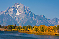 12,605 ft. Mount Moran and Oxbow Bend on the Snake River.  Grand Teton National Park, Wyoming, USA.