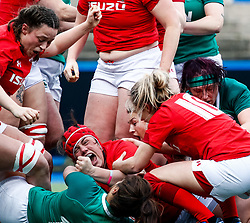 Carys Phillips of Wales celebrates scoring her sides second try<br /> <br /> Photographer Simon King/Replay Images<br /> <br /> Six Nations Round 5 - Wales Women v Ireland Women- Sunday 17th March 2019 - Cardiff Arms Park - Cardiff<br /> <br /> World Copyright © Replay Images . All rights reserved. info@replayimages.co.uk - http://replayimages.co.uk