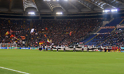 October 2, 2018 - Rome, Italy - AS Roma supporters before the UEFA Champions League match group G between AS Roma and Viktoria Plzen at the Olympic stadium on october 02, 2018 in Rome, Italy. (Credit Image: © Silvia Lore/NurPhoto/ZUMA Press)