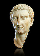Roman Portrait bust of Roman Emperor Nerva, circa  96 to 98 AD excavated from Tivoli. Marcus Cocceius Nerva Caesar Augustus was Roman Emperor from 96 to 98 AD. On 18 September 96 AD Domitian was assassinated and Nerva became Emperor  at the age of sixty-five after a lifetime of imperial service under Nero and the rulers of the Flavian dynasty. The National Roman Museum, Rome, Italy .<br /> <br /> If you prefer to buy from our ALAMY PHOTO LIBRARY  Collection visit : https://www.alamy.com/portfolio/paul-williams-funkystock/roman-museum-rome-sculpture.html<br /> <br /> Visit our ROMAN ART & HISTORIC SITES PHOTO COLLECTIONS for more photos to download or buy as wall art prints https://funkystock.photoshelter.com/gallery-collection/The-Romans-Art-Artefacts-Antiquities-Historic-Sites-Pictures-Images/C0000r2uLJJo9_s0