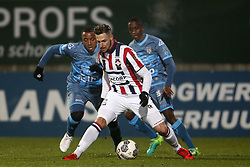 (L-R), Lerin Duarte of Heracles Almelo, Fran Sol of Willem II, Jamiro Monteiro Alvarenga of Heracles Almelo during the UEFA Europa League group K match between Vitesse Arnhem and OGC Nice at Gelredome on December 07, 2017 in Arnhem, The Netherlands