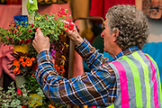 Final touches on the Carryon Clothing stand - Press preview day at The RHS Chelsea Flower Show.