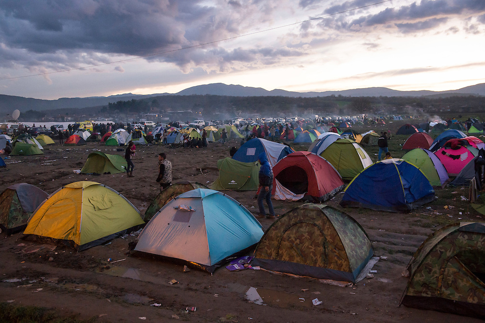 March 4, 2016 - Idomeni, Greece:  The make shift camp at the  Idomeni border crossing in Greece. 12,000 refugees are stuck here after Macedonia closed the border. New arrivals come in every day, making living conditions more and more difficult. (Steven Wassenaar/Polaris)