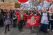 A march against cuts to and potential privatisation of the NHS starts in Tavistock Square and heads for Parliament Square. The march was organised by the peoples assembly and supported by most major unions and the Labour Party. London 04 Mar 2017