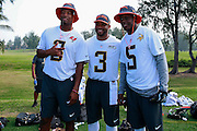 January 28 2016: Team Irvin quarterbacks (L_R) Jameis Winston, Russell Wilson and Teddy Bridgewater pose for a photo after the Pro Bowl practice at Turtle Bay Resort on North Shore Oahu, HI. (Photo by Aric Becker/Icon Sportswire)