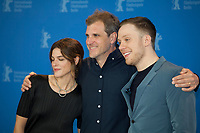 Actress Callie Hernandez, Director and Screenwriter Bastian Günther and actor Joe Cole at the photocall for the film One of These Days at the 70th Berlinale International Film Festival, on Saturday 22nd February 2020, Hotel Grand Hyatt, Berlin, Germany. Photo credit: Doreen Kennedy