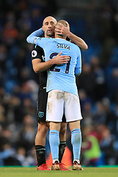 West Ham United's Pablo Zabaleta (left) and Manchester City's David Silva after the final whistle